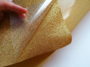 30cm x 48cm Glitter iron on vinyl sheet gold colour