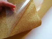 30cm x 48cm Glitter iron on vinyl sheet gold colour