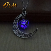 Onairmall Luminous Series Halloween Moon Love Heart Pendant Necklace Fluorescent Necklace,Glow in the Dark