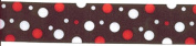 Grosgrain Ribbon - 3.8cm Wide Black/Red/White Random Dot - 4 Yards