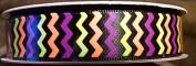 Halloween Satin Chevron Stripe Ribbon Black/Orange/Green/Purple - 3yards 1.6cm