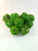 2 Packages Decorative Spheres of 6-Lime Green Rattan Ball Twig Grapevine Vase Fillers Balls Ornament Decoration Bowl Filler Great For Crafting 5.7cm -12 Pcs