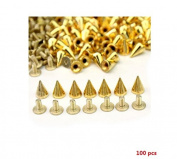 Distinct® 100 pcs Trendy Silver Spots Cone Screw Metal Studs Rivet Bullet Spikes