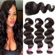 KLAIYI Hair Brazilian Cheap Body Wave Hair 3 Bundles with 1PC Lace Closure 4*10cm Grade 6A Raw Virgin Hair Weave Human Hair Extensions Natural Hair Colour 95-100g/pc