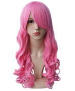 AnotherMe Long Big Wavy Pink Hair Women Heat Resistant Fibre Wig Party Cosplay