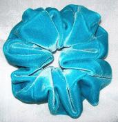 Solid Turquoise Velvet Scrunchy-Regular