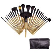 BROADCARE 24 Pcs Professional Cosmetic Makeup Brushes Foundation Blending Blush Eye Lip Face Powder Brushes with Premium PU Leather Travel Pouch