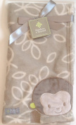 Baby Plush Blankets & Beyond Blanket Greyish Green Print with Brown Monkey