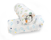 Emma Claire's Houseware 100% Cotton Muslin Swaddle Blankets-Set Of Four CUDDLES IN A BOX 120cm x 120cm Large Muslin Swaddles Perfect Baby Shower Gift Or Nursery Sets - Unisex.