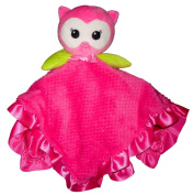 Pink Owl Cuddly Plush Lovey Snuggle Blanket