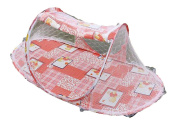 ZJY Baby Infant Folding Mosquito Net Tent with Pillow Portable Travel Kids Sleeping Bed Pink