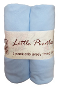 2 pack Baby Crib Fitted Sheets 70cm x 130cm Blue