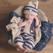 WOPS® Newborn Baby Photography Props Crochet Costume Striped Soft Outfits Beanie + Pants