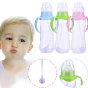 Per 240ml Babies Kids Children Pacifier Straw Water Bottle Sippy Cup Feeding Drinking Cup with Handle