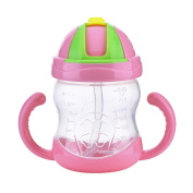 Per Cute 240ml Silicone Babies Kids Children Straw Water Bottle Sippy Cup Feeding Drinking Cup with Handle 2 Colour Available