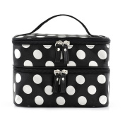 Tinksky Portable Dual Zipper Cosmetic Bag Toiletry Handbag with Polka Dots Pattern