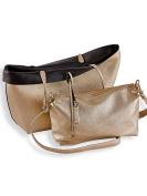 Fashion womens 3-in-1 Reversible Tote with Free Handbag-Black