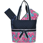 Lobster Bow Print NGIL Quilted 3pcs Nappy Bag