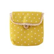 Baost Lady's Cotton Nappy Storage Organiser Sanitary Napkin Bag - Yellow