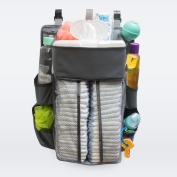 [Grey] Nappy Caddy & Nursery Organiser - Durable, Safe Material - 40 Nappy Capacity - 8 Compartments Of Various Sizes That Can Hold All Baby Essentials - Sturdy Hooks For Easy Use - Unisex