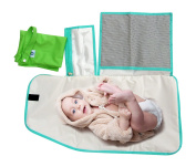 Pandaroos Portable Padded Waterproof Nappy Changing Pad and Large Wet Bag