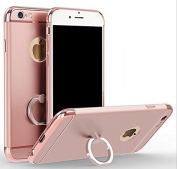 iPhone 6 Plus/6s Plus 5.5 Electroplating Loop Grip Case-Aurora Rose Gold 3 Pieces Sleek Full Body Case for iPhone 6 Plus/6s Plus [Top+Body+Bottom] with 360 Degree Ring Stand[Convenient+Useful+Stylish]