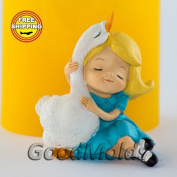 Soap Mould Girl with goose Food-grade Silicone Moulds animal Mould Mould for Soap.