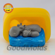 Soap Mould Hippos Food-grade Silicone Moulds animal Mould Mould Sea Mould for Soap.