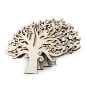 NUOLUX 10pcs Wooden Tree Embellishments for Craft Cards Wood Colour