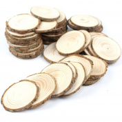 Somnr® Pack of 50pcs 5.1cm - 6.4cm Unfinished Natural Blank Wood Slices Circles with Tree Bark Log Discs for DIY Craft Woodburning Christmas Rustic Wedding Ornaments