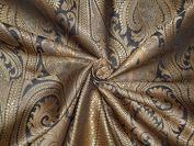 SILK BROCADE FABRIC DARK GREY & METALLIC GOLD 110cm - Hobbies,Home decor,Sewing,Fashion,Doll Dress,Furnishing,Interior.