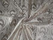 BROCADE FABRIC WHITE /GOLD METALLIC MOTIFS - Hobbies,Home decor,Sewing,Fashion,Doll Dress,Furnishing,Interior.