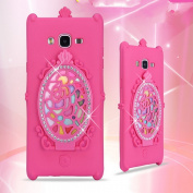 Samsung J5 Rose Flower Makeup Case-Aurora Rose Red Soft Silicone Full Body Protective Case for Samsung Galaxy J5 Mirror Glass Shiny Rhinestone Diamond Case for girls