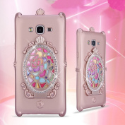 Samsung S7 Rose Flower Makeup Case-Aurora Rose Gold Soft Silicone Full Body Protective Case for Samsung Galaxy S7 Mirror Glass Shiny Rhinestone Diamond Case for girls