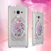 Samsung J2 Rose Flower Makeup Case-Aurora Gold Soft Silicone Full Body Protective Case for Samsung Galaxy J2 Mirror Glass Shiny Rhinestone Diamond Case for girls