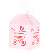 WINOMO 50pcs Gift Boxes Candy Carriage Pattern Paper Sweets Baby Shower Favours