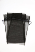 30 Designer Organza Fabric Gift Bags Pouches Party Gift Bags Black Medium 17cm By 30cm