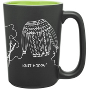 Knit Happy Scribbles Mug 300ml-Green