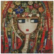 Girl in full dress cross stitch kits, 14ct, Egypt cotton thread 150x150 stitch, 37x37cm cross stitch kits