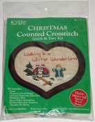 Vintage 1988 Hobby Kraft Walking in a Winter Wonderland Counted Cross Stitch Kit