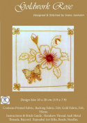 Goldwork Rose - Rajmahal Sadi Metal Thread and Art Silk Kit