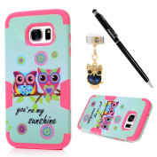 S7 Edge Case,Samsung Galaxy S7 Edge Case - Badalink Colourful Owls 3 in 1 Combo Hybrid Defender High Impact Body Armour Hard PC + Silicone Rubber Skin Gel Case Hot Pink Cover & Dust Plug & Stylus