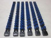 BLUE 6pc MOUNTABLE ABS SOCKET RAILS 0.6cm 1cm 1.3cm RACK TRAY HOLDER organisers