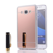 J3 Case, Express Prime Case, Amp Prime Case, UnnFiko Luxury Cute Bling Silicone Shiny Sparkling Rubber Glass Mirror Cover Case for Samsung Galaxy J3