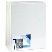 Artlicious - SUPER VALUE 7 PACK- 28cm x 36cm Pre-Stretched Cotton Canvas Panel Boards - Use with All Acrylics, Oils and Other Painting Media