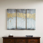 Canvas Art Grey Forest Grey Gel Coat Canvas with Gold Foil Embellishment 3-piece Set in Abstract, Contemporary Style - 1.5 L x 15 W x 35 H