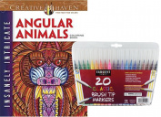Dover Adult Colouring Book, Insanely Intricate Angular Animals and Sargent Art Firm Brush Tip Markers in a Case, Set of 20
