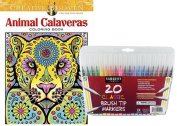 Dover Adult Colouring Book, Animal Calaveras and Sargent Art Firm Brush Tip Markers in a Case, Set of 20