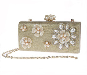 Pulama Womens Pearl Clutch 3D Floral Beaded Evening Handbag Formal Cocktail Party Purse