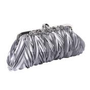 QZUnique Women's Satin Clutch Purse Pleated Crystal Evening Handbag Shoulder Bag